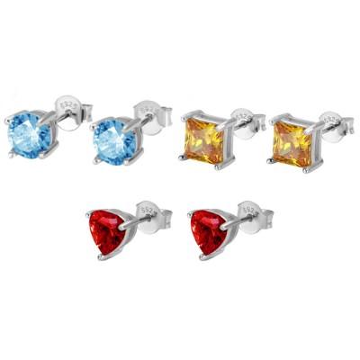 Personalized Week Birthstone Stud Earrings in Silver Pack of 7