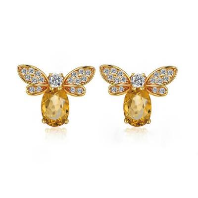 Natural Citrine Bee Shape Earrings