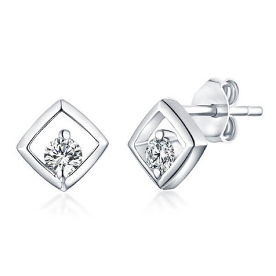 Personalized Gemstone Square Earrings In Sterling Silver