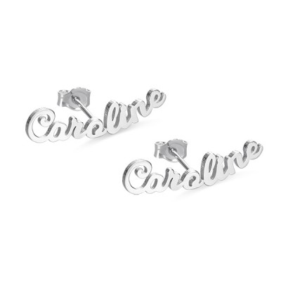 Personalized Name Stud Earrings for Her in Silver