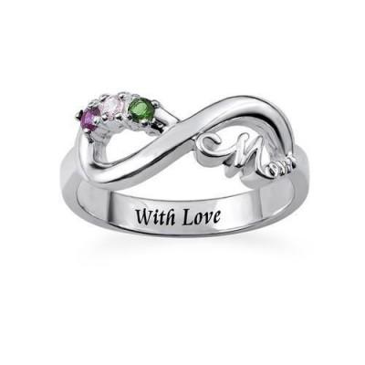 S925 Sterling Silver Infinity Birthstones Mom Ring