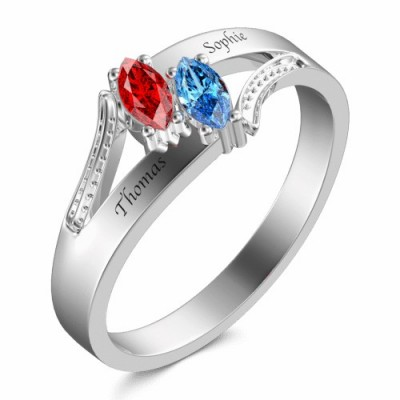 S925 Sterling Silver Olive Shape Birthstone Ring