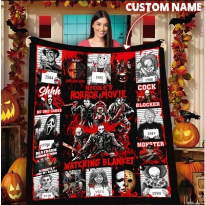This Is My Horror Movie Watching Blanket Halloween Gift For Family