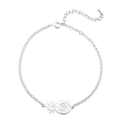 Personalized Charm Anklet with Pineapple Adjustable
