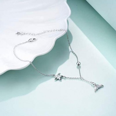 Mermaid Starfish Anklet for Women Girls Adjustable Chain Foot Ankle Summer Jewelry