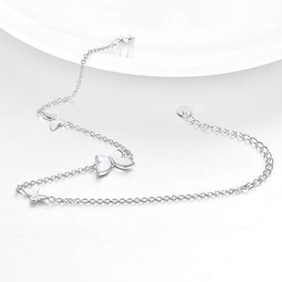 Sterling Silver Created Pearl Butterfly Jewelry Anklets for Women Birthday Gift