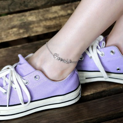 Custom Name Anklet Beach Jewelry Summer Nameplate Anklet Girlfriend Gift Bridesmaid Gift Gold
