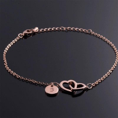 Personalized Double Hearts Anklet