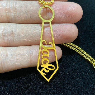 Father's Day Gift Personalized Tie Shaped Pendant Name Necklace for Dad and Grandpa