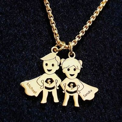 Father's Day Gift Personalized Super Kids Pendant Name Necklace with Engraving 1-15 Names