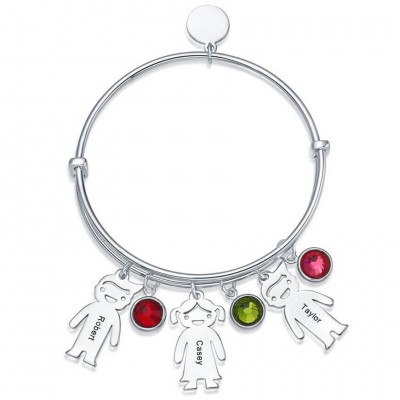 Personalized Bangle Bracelet With 1-10 Birthstones Kids Charms