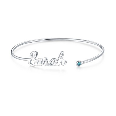 Personalized Name Bangle with Birthstone