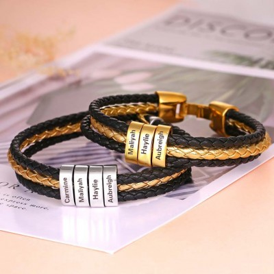 Braided Layered Leather Bracelet with Small Custom Silver and Gold Beads 1-10 Beads