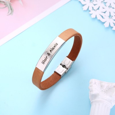Personalized Leather Bracelet with Engraved Bar