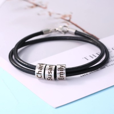 Personalized Strap Beads Bracelet With 1-10 Beads