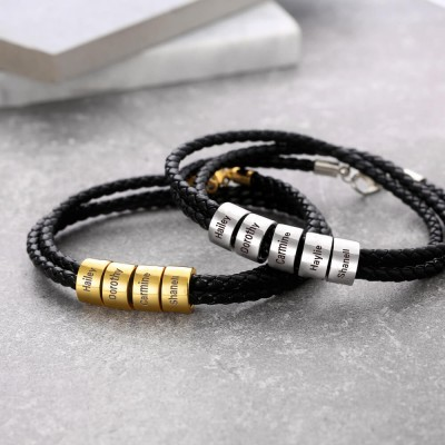 Braided Leather Bracelet with Small Custom Beads