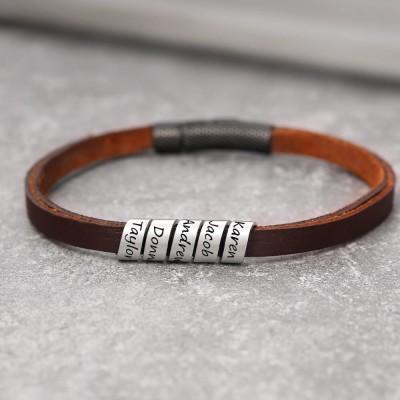 Custom Bead Braid Leather Bracelet With 1-10 Beads