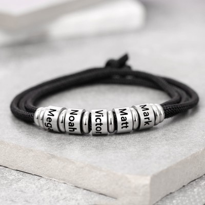 Unsex Personalized Bead Strap Bracelet With 1-10 Names