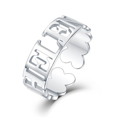 S925 Sterling Silver Personalized Name Ring For Her