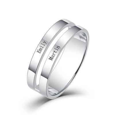 S925 Sterling Silver Personalized Engraved Name Promise Ring For Couples 2 Names