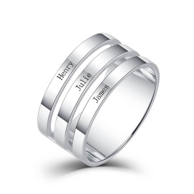 S925 Sterling Silver Personalized Engraved Name Ring 3 Names
