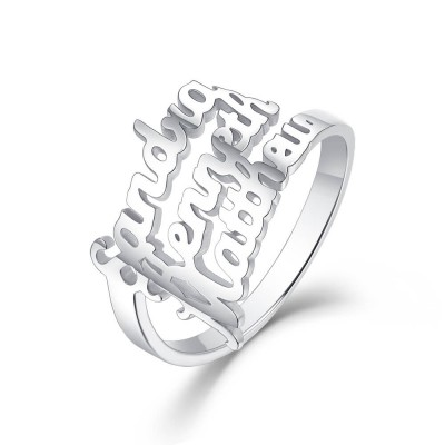 S925 Sterling Silver Personalized 3 Names Ring