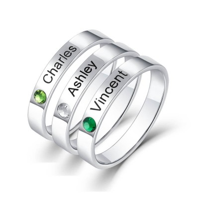 S925 Sterling Silver Personalized Stackable 3 Names Ring With Birthstone