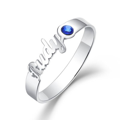 S925 Sterling Silver Personalized Birthstone Ring with 1 Name Gift for Her