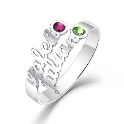 S925 Sterling Silver Personalized Birthstone Ring with 2 Names Gift for Her