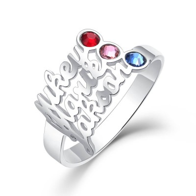 S925 Sterling Silver Personalized Birthstone Ring with 3 Names Gift for Her