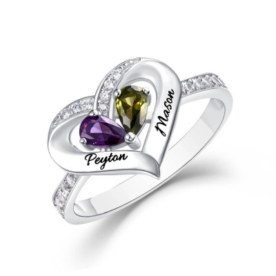 S925 Sterling Silver Personalized Birthstone Couple 2 Names Ring For Her