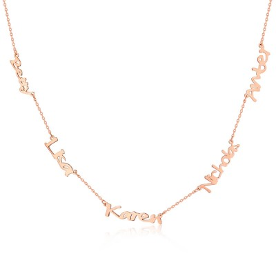 18K Rose Gold Plating Personalized 1-6 Name Necklace for Her