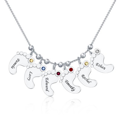 Silver Personalized 1-10 Engravable Charms Necklace Baby Feet Shape Pendant Necklace Birthstones Necklace for Mom