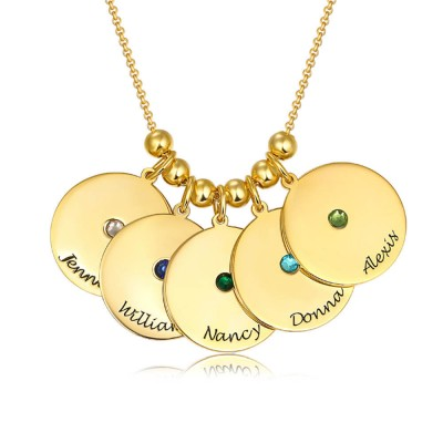 18K Gold Plating Personalized 1-10 Engravable Disc Charms Necklace Birthstone Necklace