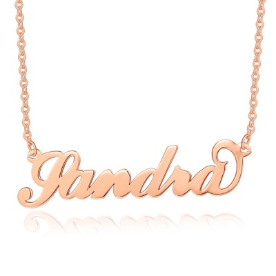 """18K Rose Gold Plating Personalized """"Carrie"""" Name Necklace"""