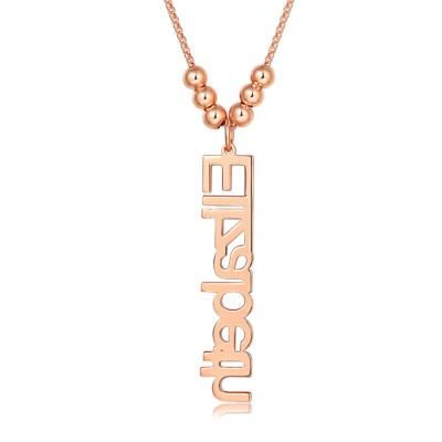 18K Rose Gold Plating Personalized Vertical Name Necklace With 1-4 Name Pendants
