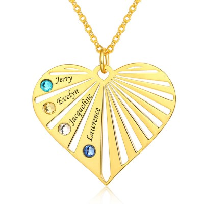 18K Gold Plating Personalized Necklace 1-8 Engravings and Birthstones Designs Engraved Birthstone Necklace