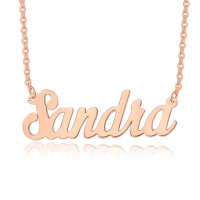 Personalized 18K Rose Gold Classic Name Necklace for Her