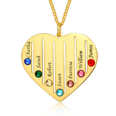 18K Gold Plating Personalized Necklace 1-7 Birthstones and Engravings Engraved Birthstone Necklace