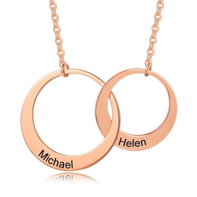 Personalized Generation Necklace Two Circles Necklace for Your Son & Daughter