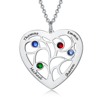 Personalized Heart Family Tree Necklace With 1-7 Birthstone, Customized Necklace for Mom, for Her
