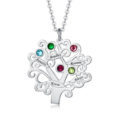 Personalized Birthstones Family Tree Necklace with 1-6 Names Customize Family Jewelry