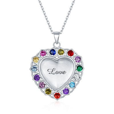 Personalized Heart Shape Necklace With 1-15 Birthstones for Mom,Grandma