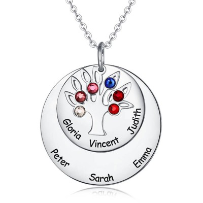 Personalized Family Tree Necklace with 4-8 Birthstones