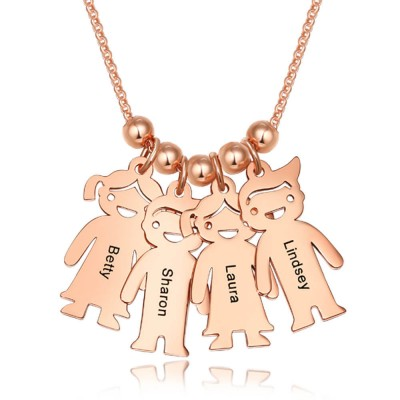 18K Rose Gold Plating Personalized 1-15 Children Charms Necklace Engraved Mother's Necklace