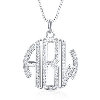 Personalized Monogram Zircon Name Necklace