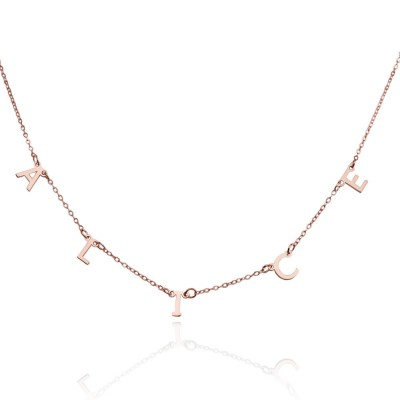 18K Rose Gold Plating Personalized 1-10 Initials Necklace Name Necklace for Her