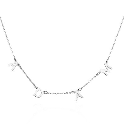 Silver Personalized 1-10 Initials Necklace Name Necklace for Her