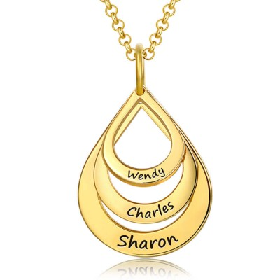 18K Gold Plating Personalized Engraved Drop Shaped Family Necklace 1-6 Engraving Name Necklace