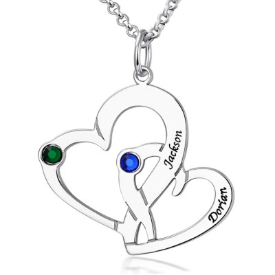 Personalized Engraved Two Heart Necklace